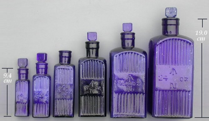 group of square admaralty arrow bottles